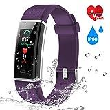 Screen Fitness Tracker Heart Rate Monitor Waterproof Activity Smart Watch Purple