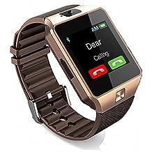 Reloj Inteligente, CulturesIn Pulsera con Pantalla Táctil Bluetooth con Cámara/Ranura para Tarjeta SIM/Análisis de Podómetro para Android (Funciones Completas) y para IOS (Funciones Parciales) (gold)