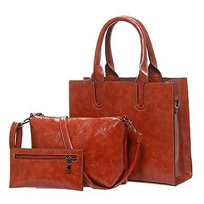 3 pcs/Set Cire Huile Cuir Pu Sac Femme Sacs à main féminin occasionnelles composite de grande capacité sac grand Femmes Sacs à bandoulière