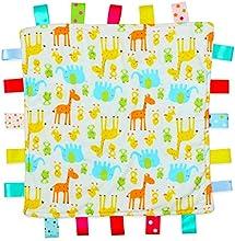 Color blanco con jirafa y elefante etiqueta, Taggy, Taggie Blanket-Plain amarillo textura parte inferior