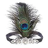 MagiDeal Vintage 1920er Jahre Kopfband Künstliche Pfauenfedern Stirnband Party Kostüm Accessoires für Damen Frauen Mädchen
