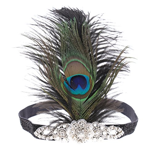 Kostüm Pfauenfeder - MagiDeal Vintage 1920er Jahre Kopfband Künstliche Pfauenfedern Stirnband Party Kostüm Accessoires für Damen Frauen Mädchen