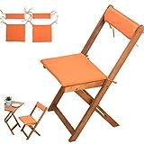 4-tlg Auflagen Set # orange # für Balkonsets Terassen Sets Bistrosets Balkonmöbel Gartenstuhl Holz Gartenmöbel # 2x Sitz Auflagen # 2x Rückenkissen