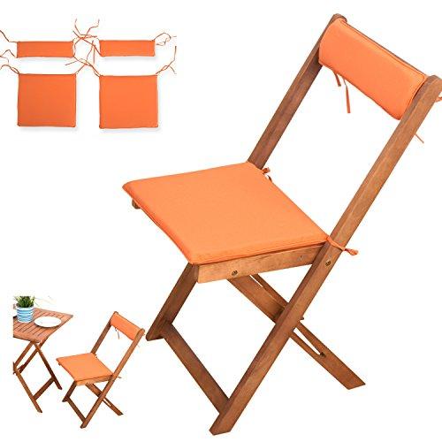 4-tlg Auflagen Set # orange # für Balkonsets Terassen Sets Bistrosets Balkonmöbel Gartenstuhl Holz...
