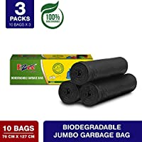 Ezee Bio-degradable Jumbo Garbage Bags/Trash Bags/Dustbin Bags (30 X 50 Inches) Pack of 3 (30 Pieces) 10 Pcs Each Pack