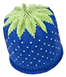 Newborn Erdbeermütze aus leichter Baumwolle in blau, Kopfumfang 34-36cm