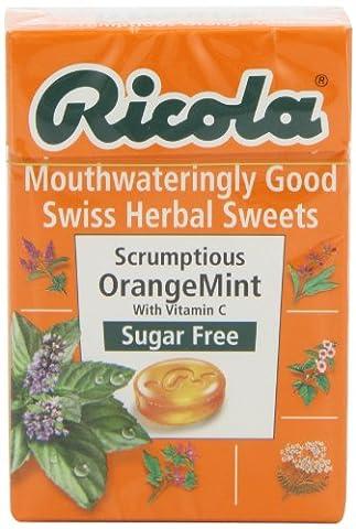 Ricola Orange Mint Sugar Free Box 45 g (Pack of 10)