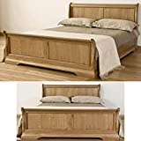 French Solid Oak 5' King Size Sleigh Bed