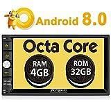 PUMPKIN Android 8.0 Octa Core Autoradio 4GB+32GB 2 Din Radio mit Navi Unsterstützt Bluetooth WLAN DAB+ Fastboot Subwoofer USB MicroSD Rückfahrkamera Universal 7 Zoll