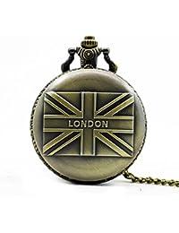f82f229fee Fengteng Bandera británica Reino Unido Reloj de bolsillo Londres Retro  Suéter Cuarzo Collar con cadena de