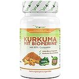 Kurkuma mit Bioperine, 180 Tabletten, 1608 mg, Curcuma Turmeric, Leichte Einnahme durch 8 mm kleine vegane Tabletten - Kurkuma Spezial Extrakt mit 95% Curcumin - Tumeric - Vit4ever