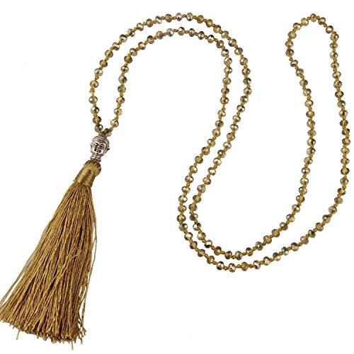 tall Bead Schnur Kette Lange Damen-Halskette Mit Silber Buddha Kopf & Quaste Anhänger - Farbe Leinen A (Kette Leinen)