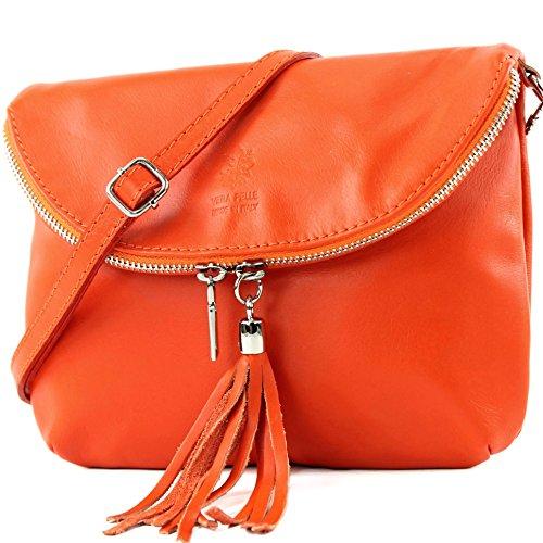 modamoda de - T07SI - ital Umhängetasche Klein aus Nappaleder, Farbe:Orange - Leder Mini-clutch