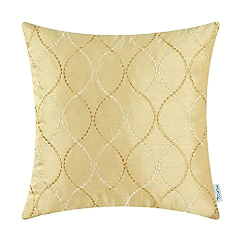 CaliTime Pillow Shell Cushion Cover Faux Silk Modern Waves Geometric Embroidered 45cm X 45cm Gold