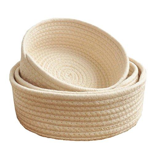 Fyore Natürlich Korb 100% Baumwolle Stoff Geflochten Kinderzimmer Deko Aufbewahrung Rund Basket Set (Beige Set von 3 Stück)