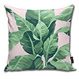 QMS CONTRACTING LIMITED Throw Pillow Cover Beverly Hills Palm Leaf Banana Print Pink Decorative Pillow Case Home Decor Square 18x18 Inches Pillowcase
