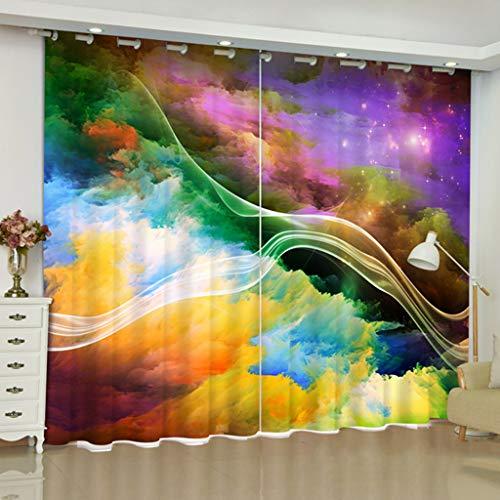 AICL Gardinen Vorhänge 3D 2 Panels Für Wohnzimmer Schlafzimmer Dekor Öse/Ring Top Window Panels - Bunte Magische Kunst W203cm H160cm -