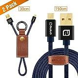 AUAUA Micro USB Kabel 2-Pack [0,3m x 1 + 1,5m x 1] Micro USB Ladekabel mit Vergoldeten Steckern für Android-Geräte, Samsung Galaxy, Sony, HTC, Motorola und mehr【24 Monate Garantie】