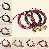 Huhuswwbin Hundehalsband, Glückskatzen-Anhänger, Modisch, Stoff, Baumwolle, verstellbar, weich, für Hunde und Katzen, Größe S