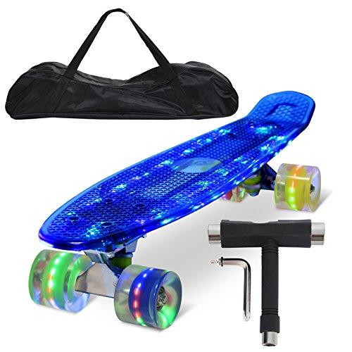 """Feldus 22\"""" Retro Skateboard Komplett Fertig Montiert mit Tasche und T-Tool (Deck LED Blau/ LED Räder in 4 Farben)"""