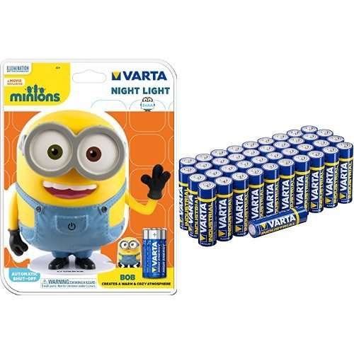 Varta LED Minions Nachtlicht Bob mit Varta Batterien Mignon AA LR6 Vorratspack 40 Stück