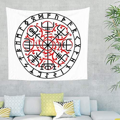 Zauber Keltisch Navigation Kompass Skandinavisch Runen Tätowieren Wandteppich Uralt Wikinger Schild Totem Wandbehang Tapisserie Nordische Mythologie Wanddecke white 200x150cm