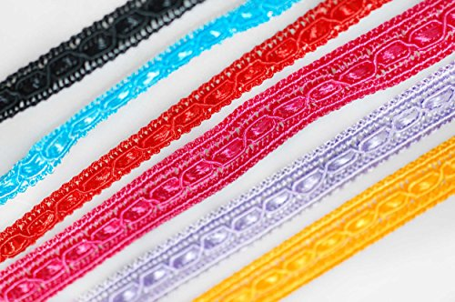 Neotrims Decorative 8mm Crochet, Flat Tape Style Viscose Texture Ribbon Indian Sari Salwar Trimming Border Edging. Choose From 6 Stunning Colours: Red, Turquoise, Cerise, Yellow Gold, Black, Lavender, Great Value Saree Trim (Floral Woven Ribbon)