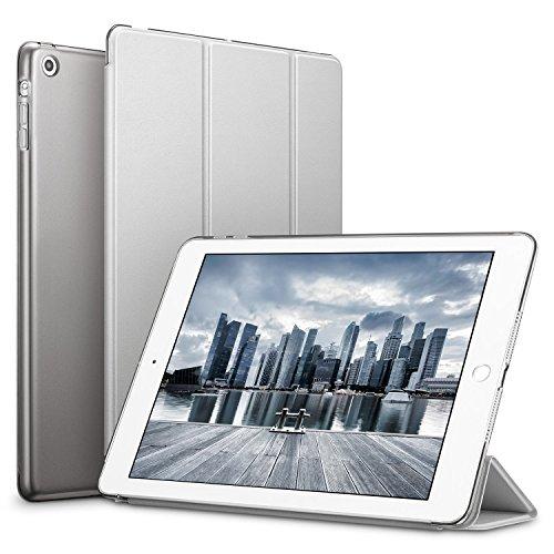, Auto Aufwachen/Schlaf Funktion PU Ledertasche Smart Case Cover mit Durchschaubar Rückseite Abdeckung Schutzhülle für Apple iPad Mini 3/Mini 2/Mini 1 (Raum Grau) ()