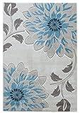 Teppich Wohnzimmer Carpet modernes Design VOQUE BLUME RUG 100% Polypropylene 120x170 cm Rechteckig Blau | Teppiche günstig online kaufen