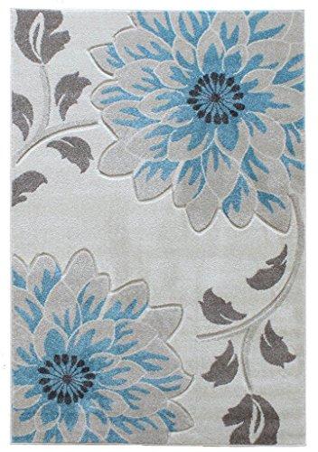 Alfombra salon sala de estar Carpet moderno Design VOQUE BLUME RUG 100% Polypropylene 60x120 cm Rectangular Azul | Alfombras barata online comprar