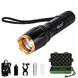Linterna LED, Linterna Foco Ajustable y Potente Iluminación de 5 Modos, Intensidad Súper Brillante (Oro)