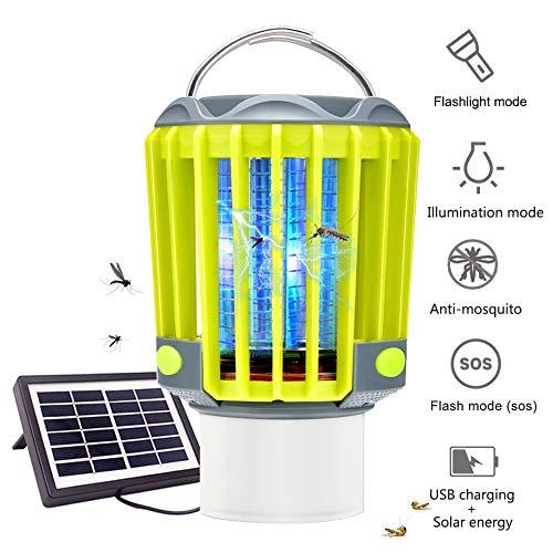 3 en 1 Lámpara Antimosquitos Linterna de Camping IPX7 Batería 2200mAH Recargable Pórtatil Carga USB y Carga Solar para Interiores, Exteriores, Viajes, Camping