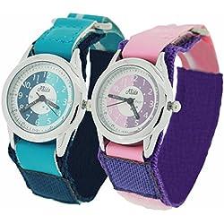 2 X Relda Time Teacher Quartz White Dial Childrens Blue/Pink Velcro Strap Watch