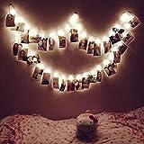 Foto Bilder Lichterkette, Dreamiracle LED Fotoklammer mit Bildern Fotos Aufhängen innen Schlafzimmer Wohnzimmer Deko Batteriebetrieben (Weiß, 16 Clips)