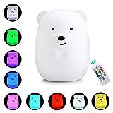 Baby-Nachtlicht, Aolvo 9 Farben 4 Modi Fernbedienung & Tap-Steuerung Soft-Silikon USB Aufladbare Bunte LED-Nachtlampe