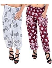 Printed Rajasthani Cotton Afghani Trouser Harem Pants (Combo Pack Of 2 Pcs) For Unisex With Elastic Waist Band - B077SJC7QQ
