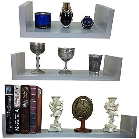 Set de 3 unid Diseño Estante de pared Libros CD Estantería Cubo en varios colores Dekowuerfel NUEVO - gris plata
