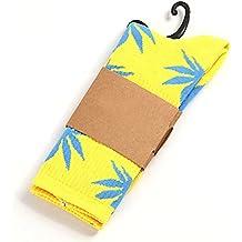 Calcetines de hierba, diseño de marihuana, color amarillo con hojas azules