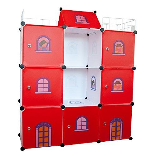 Aufbewahrungsboxen Kinder-Schloß Kinder kleiderschrank Spielzeug Kästen Bücherregal Organisator Rotes Schloss Flur Schrank Badschrank Hoch Regal Garderoben mit 2 Kleiderstange