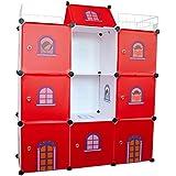 Armario Estantería infantil Niños castillo armario ordenado cajas de juguete unidades DIY almacenamiento cubículo armario organizador Niños dormitorio - Castillo Rojo