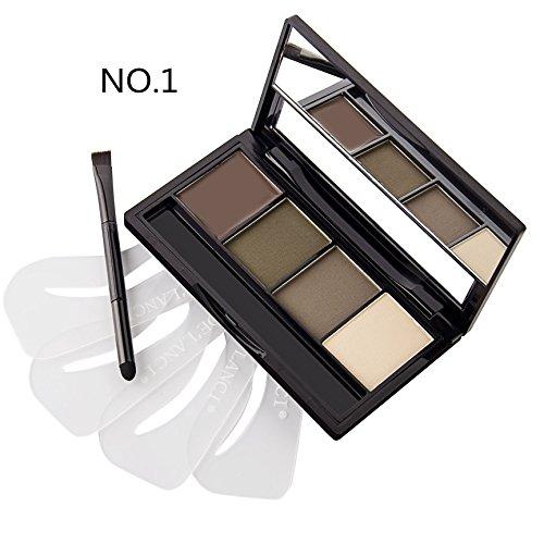 DE'LANCI 4 Color Pro-Augenbraue -Puder-Palette mit 4Pcs Augenbrauen Schablonen Set (Farbe 1)