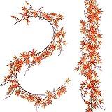 Attvn Fall Ahornblätter Girlande, 1 Stück Künstliche Herbst Ahornblätter Ahorn Laub Herbstlaub Blätter für Unterlage Wandbild Türschild Party Hochzeit Weihnachten Deko