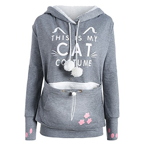 Shujin Femme Sweat à Capuche Grande Poche Animal Chat Chien Hoodie Oreille Chic Top Pull Sweatshirt Mode Élégant Gris