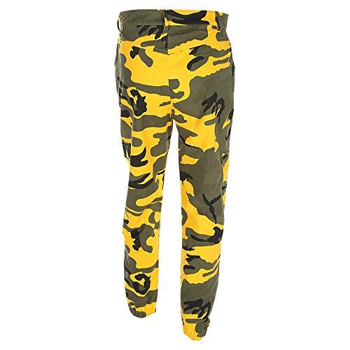 Dorical Frauen Sport Camo Cargo Hosen 2019 Neue Jugend Outdoor Camouflage Hosen Jeans Beiläufig Tarnung drucken locker Sporthose hohe Taille lang Freizeithosen Haremsjeans Damenhosen(Gelb,Small)