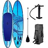 SUP Board Stand up Paddling Surfboard Shark Blau 320x76x15cm aufblasbar Alu-Paddel Hochdruck-Pumpe...