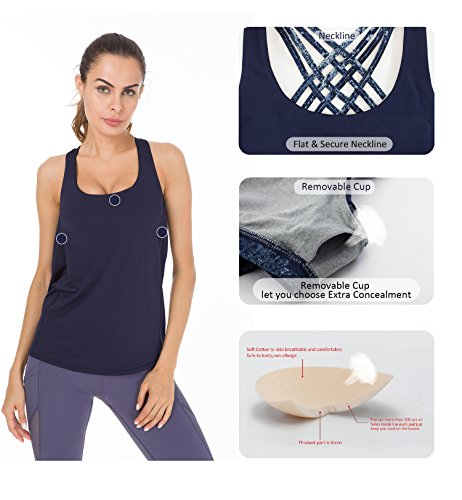 Queenie Ke Damen 2 in 1 Soft Rückenfreie Ärmellos Bluse Yoga Shirts Vest Tanktops Blau