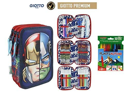 Plumier Estuche Premium de Cremallera Triple 3 Pisos Avengers Marvel 43 Piezas Contenido Giotto + Regalo 12 Ceras Alpino Plastialpino