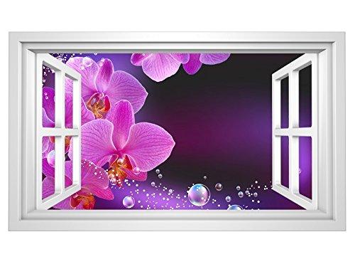 3D Wandtattoo Orchidee Blume lila rosa WasserFenster selbstklebend Wandbild sticker Wohnzimmer Wand Aufkleber 11H658, Wandbild Größe F:ca. 97cmx57cm (Lila Blumen-wand-aufkleber)