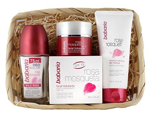 Babaria Rosa Mosqueta Crema Facial Hidratante, Nutritiva de Manos y Desodorante Roll-On – 225 ml