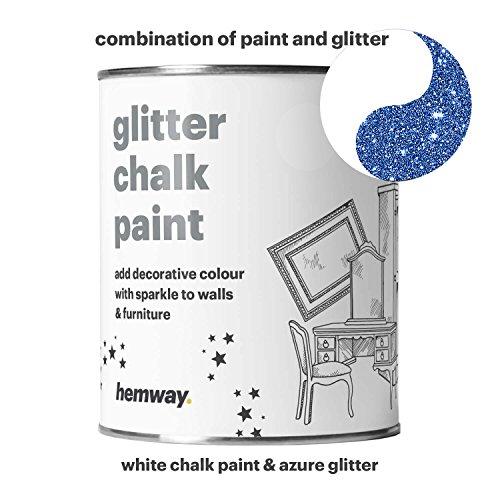 Hemway Kreidefarbe (mit Glitzer), 1 Liter, weiß, matte Oberfläche, für Wände und Möbel, Shabby-Chic, Vintage, blau - Blaue Rustikale Kommode